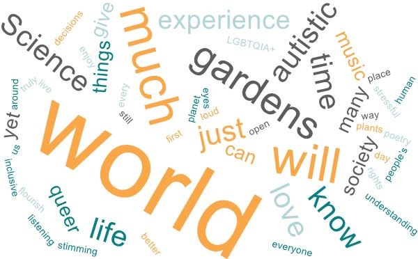 Image of a word cloud, that has been created based on several texts that describe myself, who I am and what I stand for. It contains the following words: world, Science, gardens, autistic, much, queer, time, things, experience, LGBTQIA+, music, many, society, stressful, place, human, poetry, way, plants, day, rights, people's, understanding, know, love, everyone, life, stimming, listening, inclusive, flourish, us, yet, around, truly, live, decisions, enjoy, give, every, still, first, planet, eyes, loud, just, can, open, will